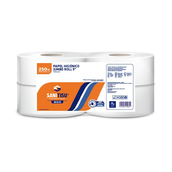 Sanitisu Professional Higiénico Jumbo Roll Hoja Sencilla 4 Rollos X250m
