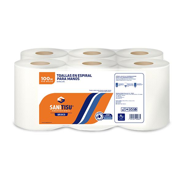 Sanitisu Professional Toallas en Espiral Para Manos Hoja Sencilla 6 Rollos X100M